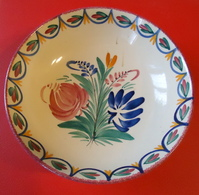 Céramique De Quimper - Assiette Creuse Ancienne - HB - 270 PA - Diamètre 18 Cm - Poids 350 Grammes - Plates