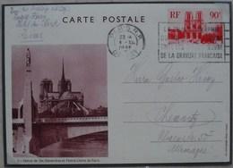 Entier CP 90ct Rouge Notre Dame De Paris Vue 1 Statue Ste Genevieve - Cartoline Postali E Su Commissione Privata TSC (ante 1995)