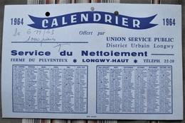 54 LONGWY HAUT Ferme Du Pulventeux Calendrier UNION SERVICE PUBLIC 1964 - Calendriers
