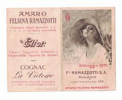 CALENDARIETTO  AMARO FELSINA RAMAZZOTTI  1922  SEMESTRINO - Calendari