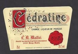 Etiquette De  Liqueur De Cédratine  Mattei  -  Sté Des Vins Du Cap Corse à Borgo Bastia   (20) - Etiquettes