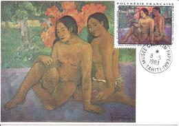 POLYNESIE FRANCAISE CARTE MAXIMUM + FDC GAUGUIN ...et L'or De Leur Corps Musée Gauguin PAPEARI TAHITI 8 5 1983 - Polynésie Française