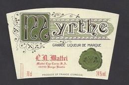 Etiquette De  Liqueur De Myrthe  Mattei  -  Sté Des Vins Du Cap Corse à Borgo Bastia   (20) - Etiquettes