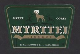 Etiquette De  Liqueur De Myrthe Corse  -  Myrttei  -  Sté François Mattei à   Bastia   (20) - Etiquettes
