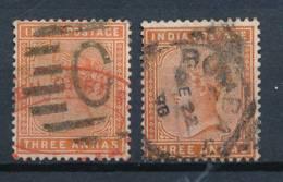 INDIA, 1882 3As Orange And 3As Brown-orange, Cat £13 - 1882-1901 Empire