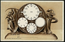 Ref 1244 - 1909 USA Novelty Embossed Postcard - Clock Telephone Communications Theme - Horology - Other