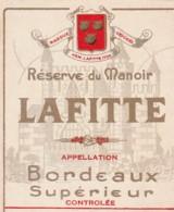 *** ETIQUETTES  ***- Appellation BORDEAUX  SUPERIEUR  Réserve Du Manoir LAFITTE - Bordeaux