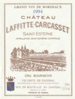 *** ETIQUETTES  ***- Appellation BORDEAUX  SAINT ESTEPHE Château Lafitte Carcasset Cru Bourgeois 1994 - Bordeaux