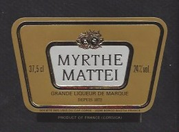 Etiquette De  Liqueur De Myrthe Mattei 37.5 Cl -  Sté Des Vins Du Cap Corse à Borgo   Bastia   (20) - Labels