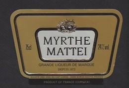 Etiquette De  Liqueur De Myrthe Mattei 75 Cl -  Sté Des Vins Du Cap Corse à Borgo   Bastia   (20) - Etiquettes