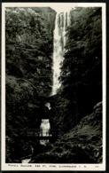 Ref 1245 - Real Photo Postcard - Pistyll Rhiadr Waterfall Llanrhaidr Montgomeryshire Wales - Montgomeryshire