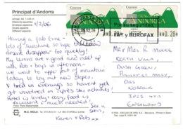 Ref 1245 - 2006 Andorra Postcard - 56c Rate To England - Andorra