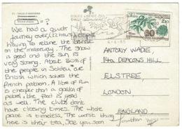 Ref 1245 - 1985 Andorra Postcard - 2.10fr Rate To England - Skiing Slogan - Andorra