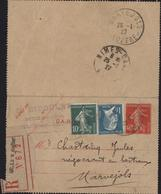 Entier Carte-lettre Semeuse Camée 40c Vermillon Carton Chamois Storch P1 Recommandé Complément YT 159 + 179 - Postal Stamped Stationery