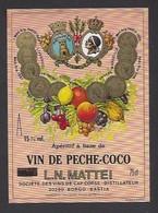 Etiquette D' Apéritif à Base De VIn De Pêche Coco  Mattei -  Sté Des Vins Du Cap Corse  à Borgo  Bastia  Corse (20) - Etiquettes