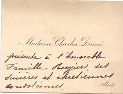 Visitekaartje - Carte Visite - Madame Charles Druwé - Alost - Aalst - Cartes De Visite