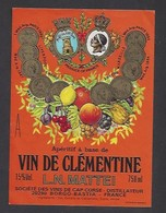 Etiquette D' Apéritif à Base De VIn De Clémentine  Mattei -  Sté Des Vins Du Cap Corse  à Borgo  Bastia  Corse (20) - Etiquettes
