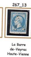 France : Petit Chiffre N°267 : La Barre De Veyrac (  Haute-Vienne) Indice 13 - Marcophilie (Timbres Détachés)