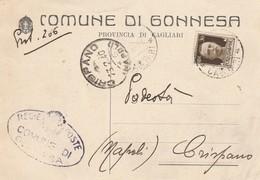 Gonnesa. 1940. Annullo Guller GONNESA *CAGLIARI* , Su Cartolina Comunale - Marcophilia