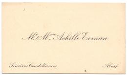 Visitekaartje - Carte Visite - Mr & Mme Achille Eeman - Alost Aalst - Cartes De Visite