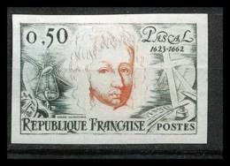 France N°1344 Blaise Pascal Philosophe Writer Non Dentelé ** MNH (Imperforate) - France