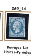 France : Petit Chiffre N°269 : Barrèges-Luz ( Hautes-Pyrénées) Indice 14 - Marcophily (detached Stamps)