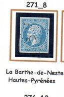France : Petit Chiffre N°271 : La Barthe De Neste ( Hautes-Pyrénées) Indice 8 - Marcophily (detached Stamps)