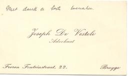 Visitekaartje - Carte Visite - Advocaat Joseph De Vestele - Brugge - Cartes De Visite