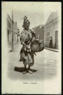 Ref 1247 - 1910 Ethnic Postcard - Street Musician Drummer Biskra Algeria - France Interest - Music Theme - Africa