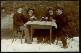Ref 1247 - 1910 Postcard - 4 Men Drinking - Military Free Postage Roeckweilerhof Germany - Europe