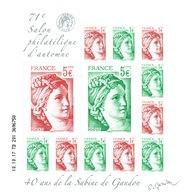 "France, ""Sabine"" By Gandon, 2017, MNH VF Souvenir Sheet Of 12  Automn Philatelic Fair - France"