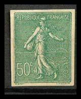 France N°198 50 C. Olive Semeuse Lignée Cote 140 Non Dentelé (*) (Imperforate) - France