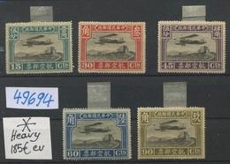 1921  Chine Avions NEUFS  Forte Charnière Cote 185-Euros.  Mint H.H. - Chine