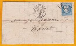 1872 - LAC D' Oloron Sainte Marie Vers Tardets Sorholus, Pyrénées Atlantiques - YT 60 Cérès 25 C - Cad Arrivée Erronné - 1871-1875 Cérès