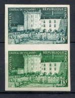 France N°995 Chateau (castle) De Villandry (Touraine) Paire Essai Trial Color Proof Non Dentelé Imperforate ** MNH - France