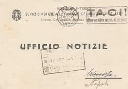Bari. 1943. Annullo Meccanico BARI FERROVIA,  Su Cartolina Del MINISTERO INTERNO. - 1900-44 Victor Emmanuel III
