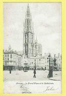 * Antwerpen - Anvers - Antwerp * (Chocolat Martougin) La Grand'Place Et La Cathédrale, Markt, Square, Animée, Brabo - Antwerpen