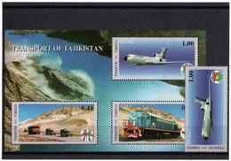 Tajikistan.2001 Transportation. 1v+S/S Of 3v: 1.00,+0.41/0.90/1.00  Michel # 194+BL 26 - Tayikistán