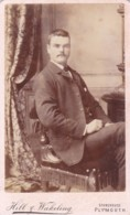 CDV PHOTO -SEATED MAN WITH MOUSTACHE. PLYMOUTH STUDIO - Photographs
