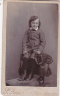 CDV PHOTO -YOUNG BOY HOLDING A WHIP.  KINGSBRIDGE STUDIO - Photographs