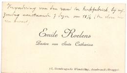 Visitekaartje - Carte Visite - Pastoor Sinte Catharina - Emile Roelens - Assebroek Brugge - Visitekaartjes