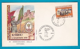 1968 - FDC Roma - Anniversario Della Vittoria - No VG Annullo Rovereto - 6. 1946-.. Repubblica
