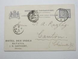 1906 , CANTON ,Postmark On  Postcard From Niederländisch Indien - Chine