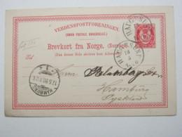 1890 , HAUGESUND , Klarer Stempel Auf Ganzsache Nach Deutschland, Rs. Text - Entiers Postaux
