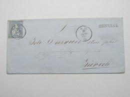 1866 ,  BERNECK , Einzeiler Auf Brief Mit Stempel AU , Rs. Bahnpoststempel , Recht Selten - 1862-1881 Helvetia Assise (dentelés)
