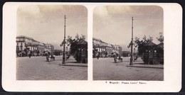 1906 VECCHIA FOTO STEREO ITALIA - CAMPANIA - ** NAPOLI ; PIAZZA CASTEL NUOVO ** RARE - Photos