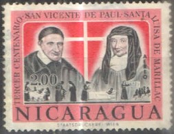 Nicaragua 1963 Aereo Centenario San Vicente De Paul - Santa Luisa Marillac * (scharnière) - Nicaragua