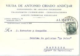 TARJETA COMERCIAL  1936  ALMERIA - 1931-Today: 2nd Rep - ... Juan Carlos I