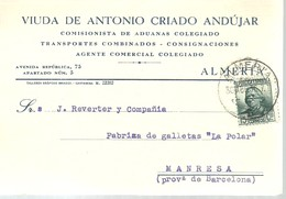 TARJETA COMERCIAL  1936  ALMERIA - 1931-Aujourd'hui: II. République - ....Juan Carlos I