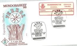 ETIQUETA MUNDOBASKET 1986  FERROL - 1931-Hoy: 2ª República - ... Juan Carlos I